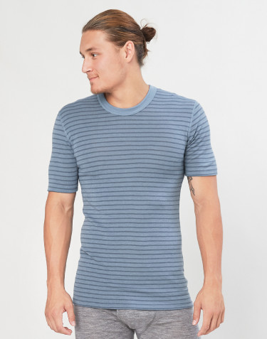Men's merino wool T-shirt- Blue Stripe