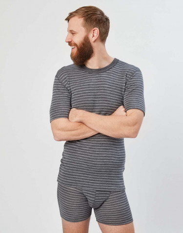 Men's merino T-shirt- Grey stripe