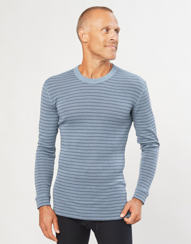 Men's merino wool long sleeve top- Blue Stripe