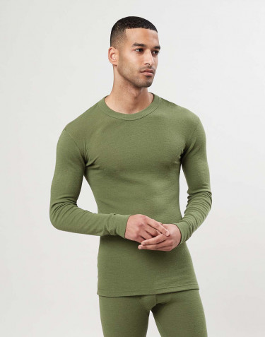 Men's merino wool long sleeve top - Avocado green