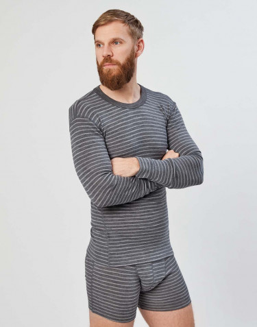 Men's long sleeve merino wool base layer- Grey stripe