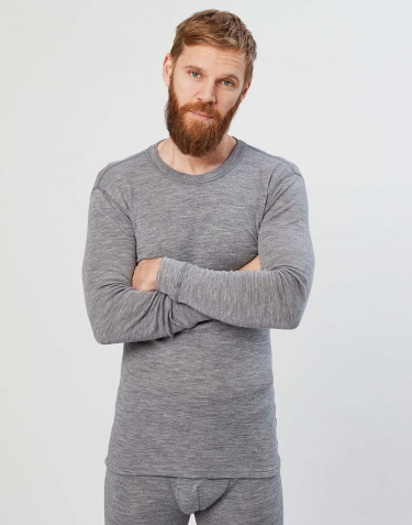 Men's long sleeve merino wool base layer- grey melange