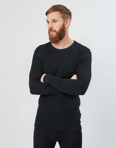 Men's long sleeve merino wool base layer- black