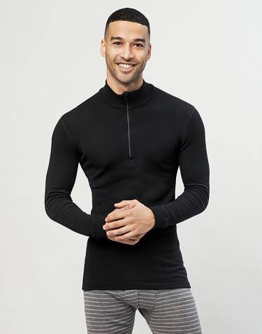 Men's zip neck merino wool top- black