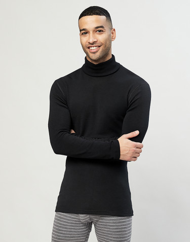 Men's merino wool turtleneck top- Black