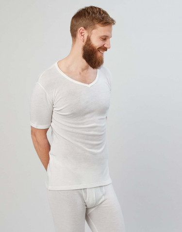 Men's merino wool V-neck T-shirt- nature