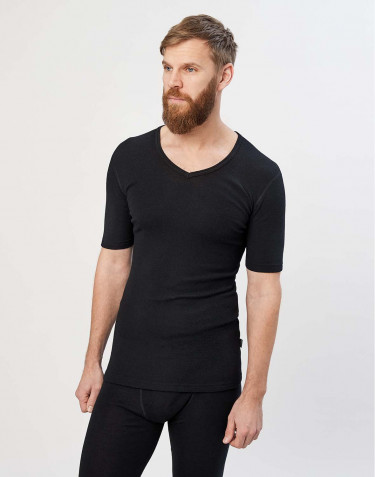Men's merino wool V-neck T-shirt- black