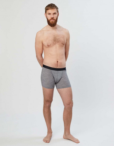 Men's merino wool boxer shorts- grey melange