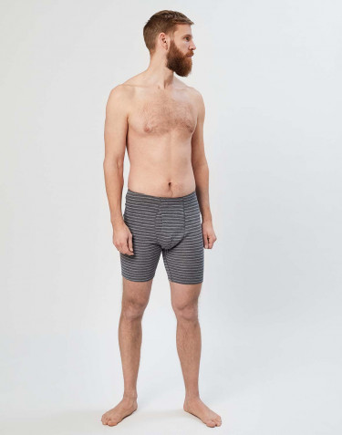 Men's long merino boxer shorts- Grey stripe