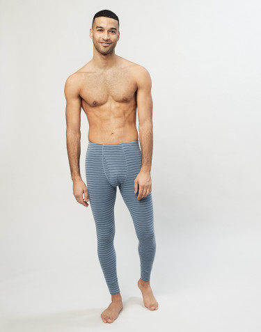 Men's merino wool leggings- Blue Stripe