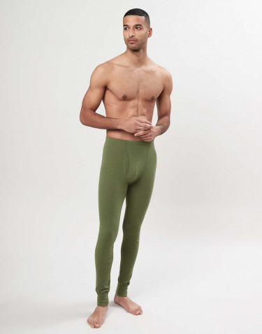 Men's merino wool long johns with fly - Avocado green