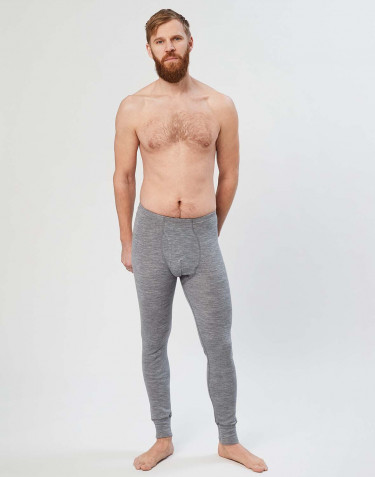 Men's merino wool long johns with fly- grey melange