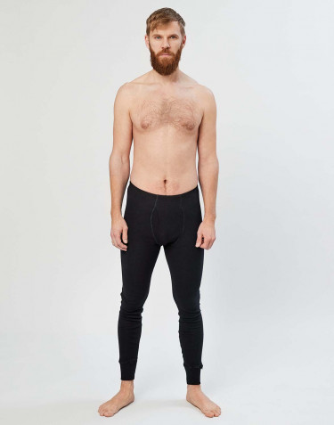 Men's merino wool long johns with fly- black