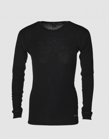 DILLING men's plus size long sleeve wool base layer- black