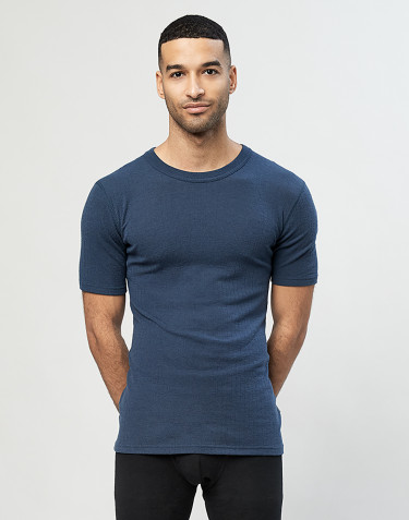 Men's ribbed knit T-shirt- dark petrol blue