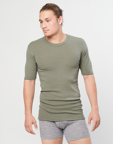 Men's ribbed knit T-shirt- olive green