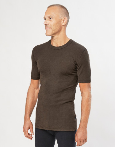 Men's ribbed merino wool T-shirt- Dark Chocolate