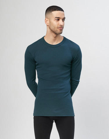 Men's merino wool long sleeve top- dark petrol blue