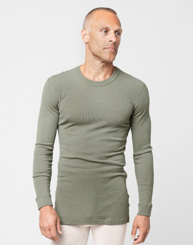 Men's merino wool long sleeve top- olive green