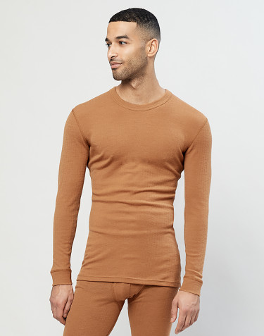 Men's long sleeve ribbed merino wool top- Caramel