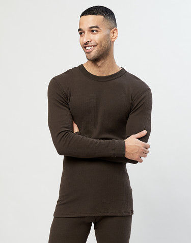 Men's long sleeve ribbed merino wool top- Dark Chocolate
