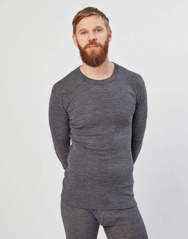 Men's merino wool long sleeve top- dark grey