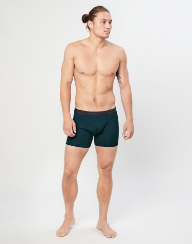 Men's ribbed merino wool boxer shorts- dark petrol blue