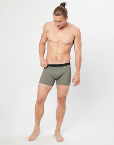 Men's ribbed merino wool boxer shorts- olive green
