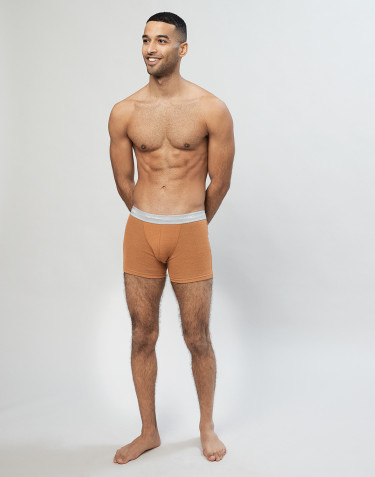 Men's ribbed wool boxer shorts- Caramel