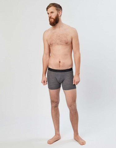 Men's ribbed merino wool boxer shorts- dark grey