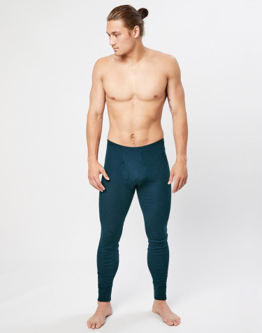 Men's ribbed merino wool leggings- dark petrol blue