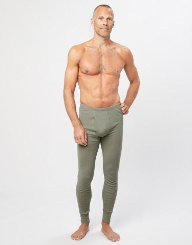 Men's ribbed merino wool leggings- olive green