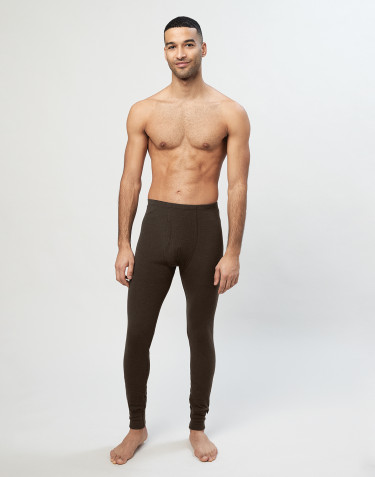 Men's ribbed merino wool leggings- Dark Chocolate