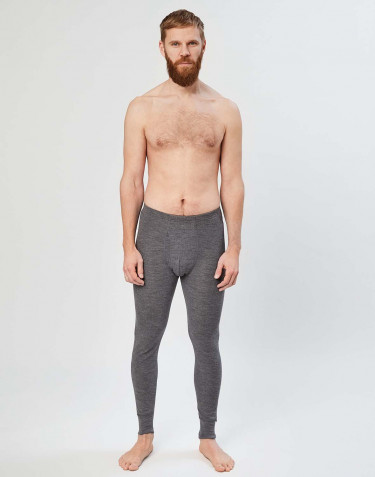 Men's ribbed merino wool leggings- heather grey