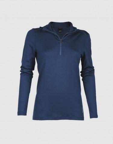 Women's exclusive merino wool hoodie- dark blue