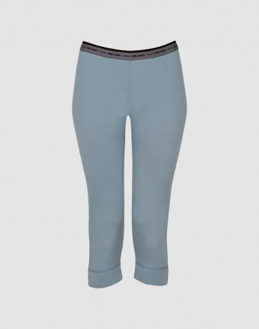 Women's exclusive merino wool 3/4-length leggings - mineral blue