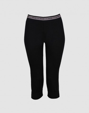 Women's exclusive merino wool 3/4 length leggings- black