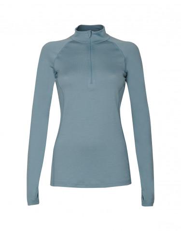 Women's exclusive merino wool midlayer with half zip- mineral blue
