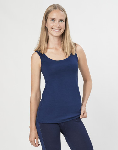 Women's exclusive organic merino wool tank top- Dark Blue