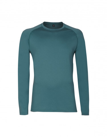 Men's exclusive merino wool long sleeve top- hydro green