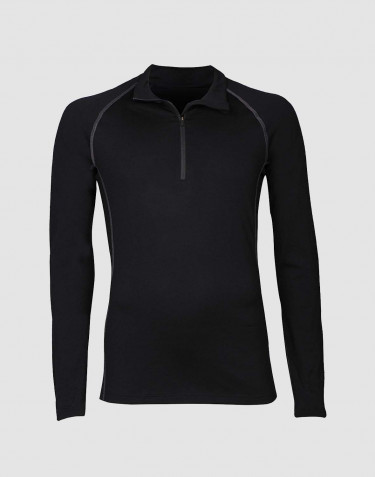 Men's exclusive merino wool half zip top- black