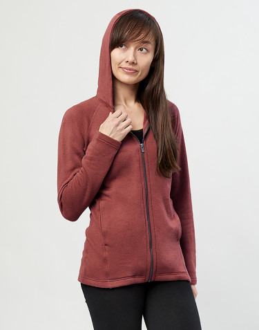 Women's wool terry hooded jacket- rouge