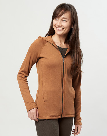 Women's wool terry hooded jacket- Caramel
