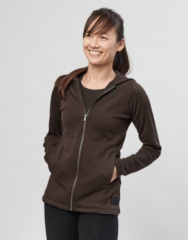 Women's wool terry hooded jacket- Dark Chocolate