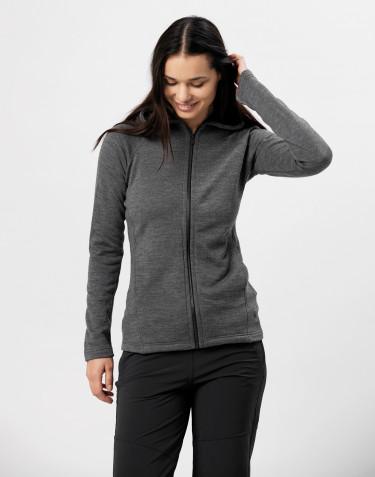Women's wool terry hooded jacket- dark grey melange