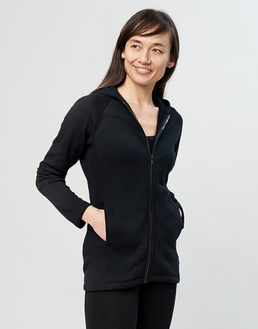 Women's wool terry hooded jacket- black