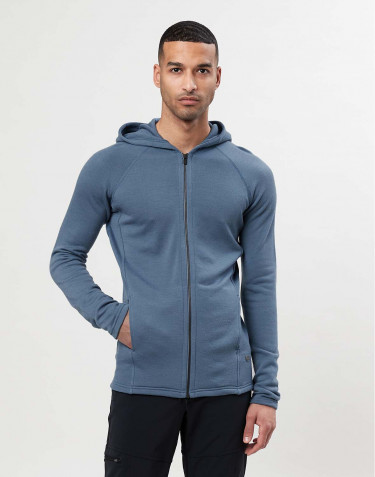 Men's organic merino wool hoodie- china blue