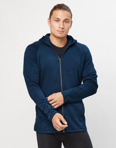 Men's organic merino wool hoodie- dark petrol blue