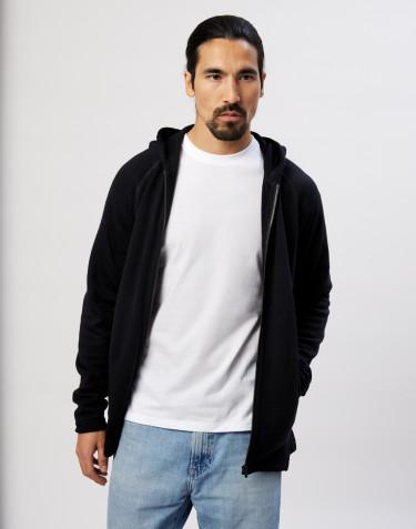 Men's organic merino wool hoodie- black