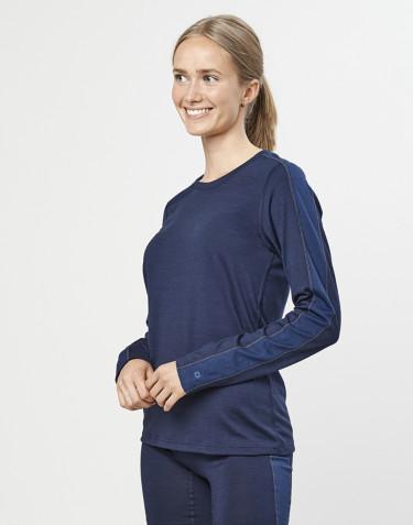 Women's exclusive organic merino wool long sleeve base layer- Navy